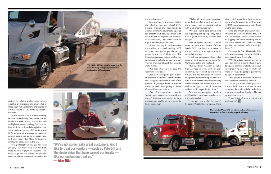 Otto Trucking First Class Magazine Peterbilt